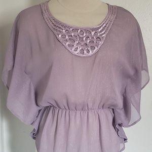 BCX Size Small Purple Peplum Women Top Blouse